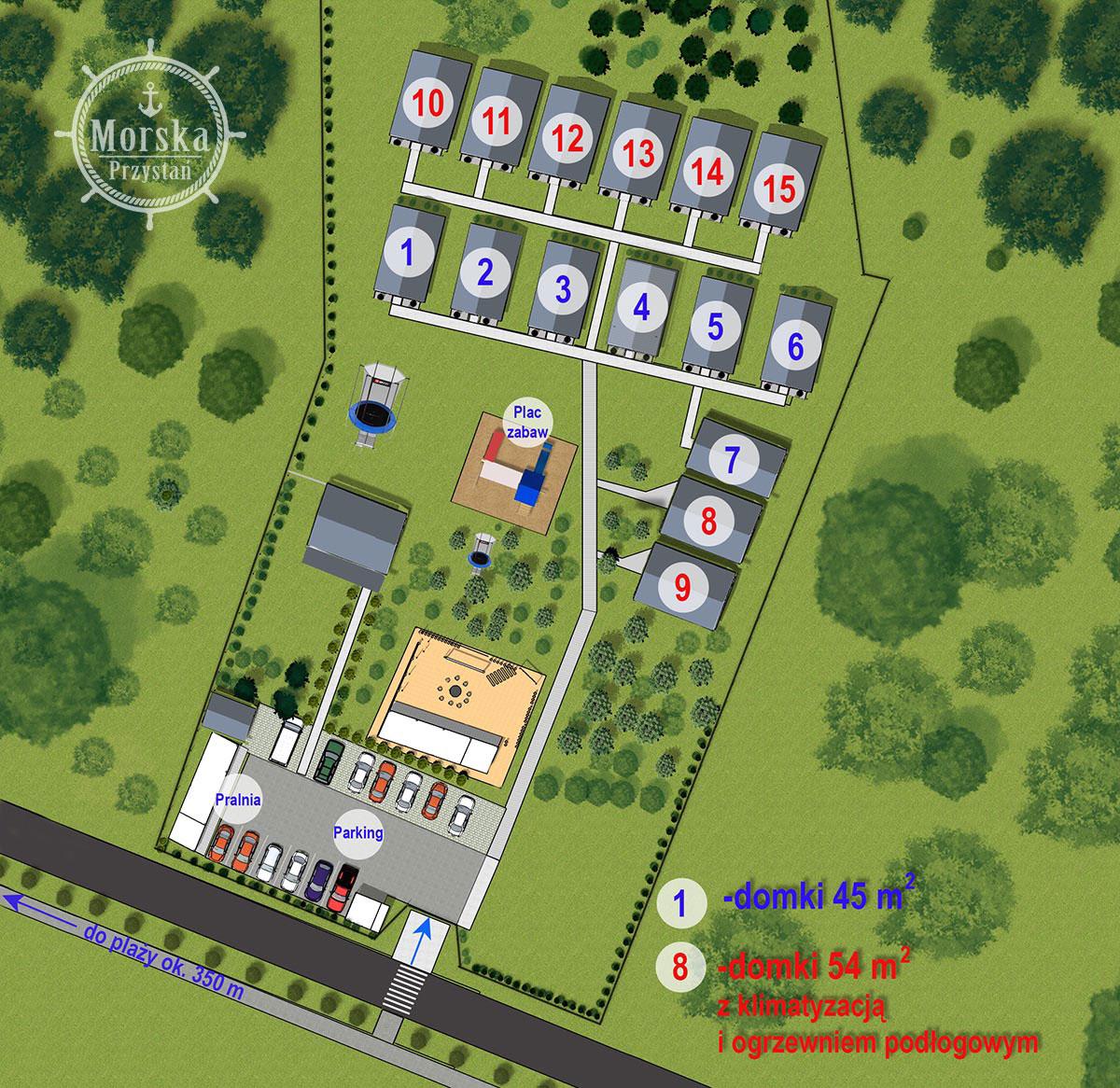plan ośrodka Morska Przystań Darłówko domki